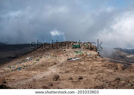 Barafu Hut and Camp, Kilimanjaro - stock photo