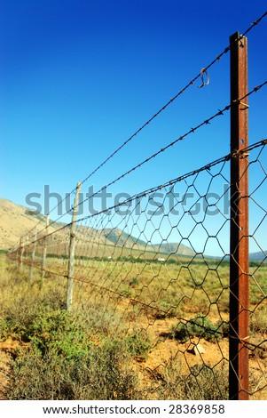 Barb wire landscape - stock photo