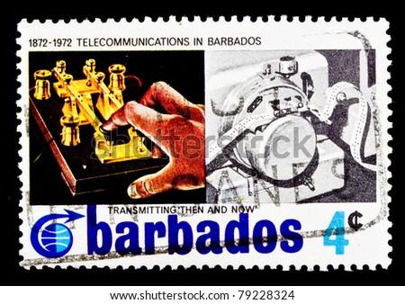 BARBADOS - CIRCA 1972: A stamp printed in Barbados shows telegraphi, circa 1972 - stock photo
