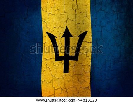 Barbados flag on a cracked grunge background - stock photo