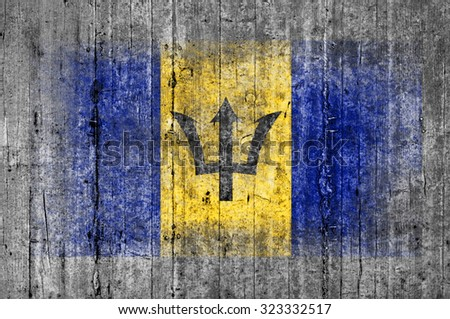 Barbados flag painted on background texture gray concrete - stock photo