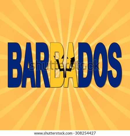 Barbados flag text with sunburst illustration - stock photo