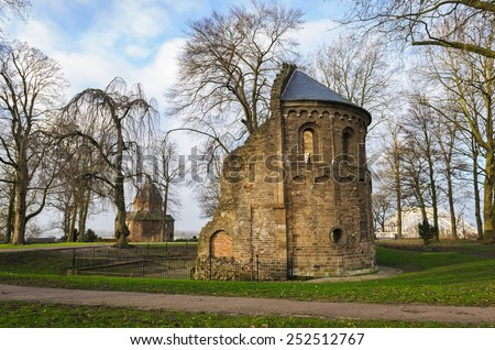 Barbarossa ruin together with the Valkhof in the old city of Nijmegen, the Netherlands - stock photo