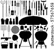 Barbecue BBQ Silhouette Set Raster - stock photo