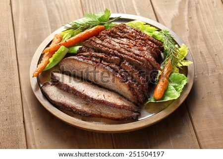 barbecue beef brisket, texas style - stock photo