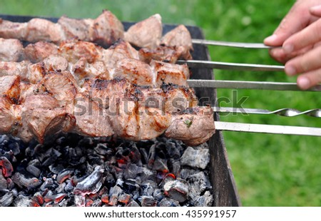 Barbecue Beef Kebabs On Hot Grill In Nature Close-up. Coals In The Background - stock photo