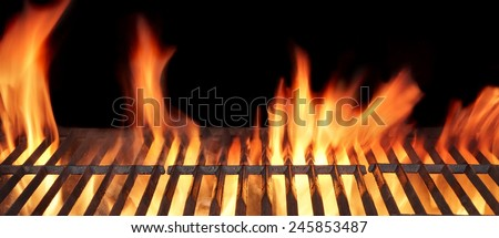 Barbecue Fire Grill close-up, isolated on Black Background - stock photo