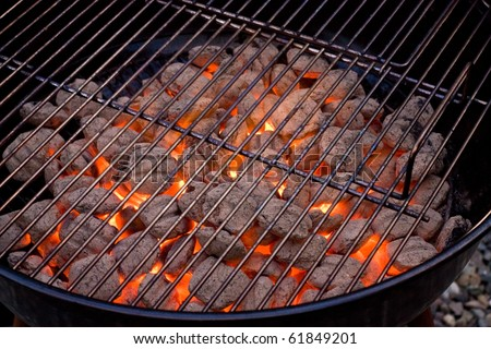 barbecue grill and hot coal - stock photo