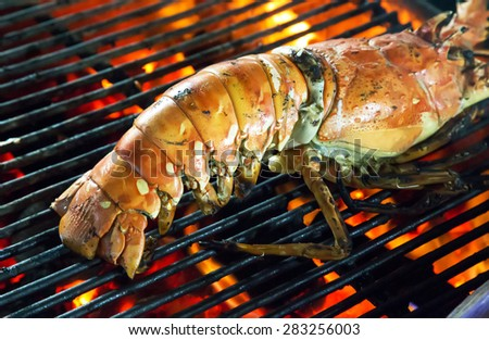 Barbecue Grill cooking seafood. background eat Restaurant - stock photo