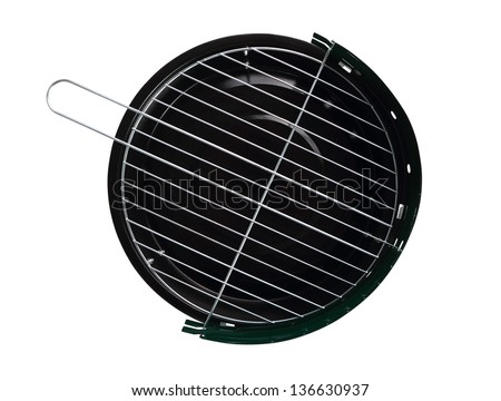 Barbecue Grill. Directly Above. Isolated with clipping path. - stock photo