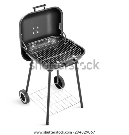 Barbecue grill isolated on white background - stock photo