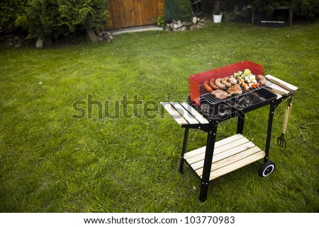 Barbecue in the garden, really tasty dinner! - stock photo