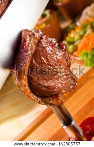 Barbecue steak with space for text - stock photo