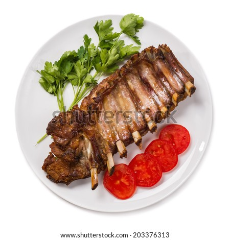 Barbecued pork spare ribs - stock photo
