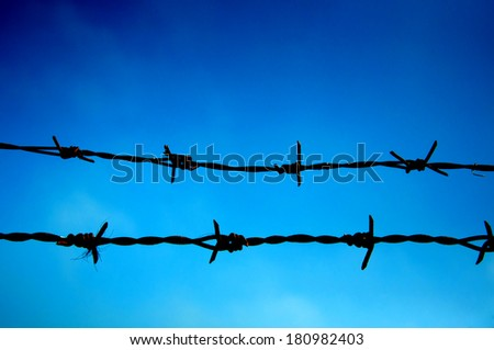 barbed wire  against blue sky  - stock photo