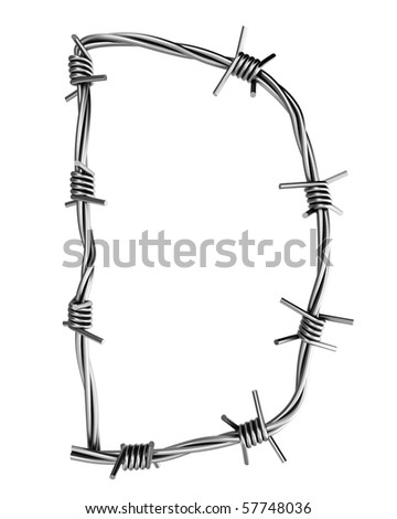 Barbed wire alphabet, D - stock photo