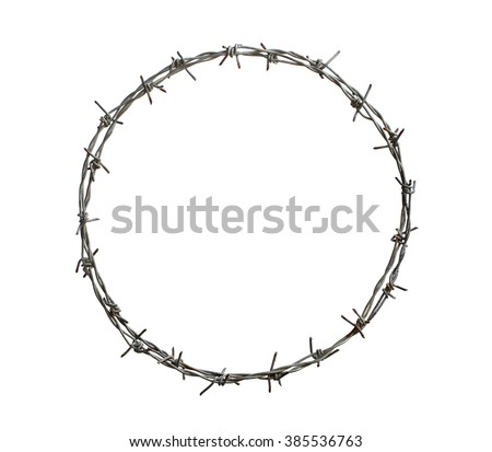 Barbed wire circle isolated on white background - stock photo