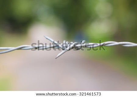 barbed wire fence on green background - stock photo