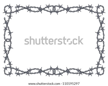 barbed wire frame isolated - stock photo