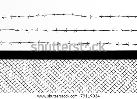 barbed wire silhouette on white background. isolated. - stock photo