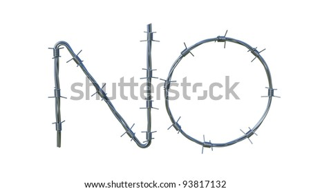 "Barbed wire symbol ""NO"" isolated 3d model - stock photo"