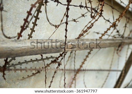 barbed wire-tuol sleng-cambodia - stock photo