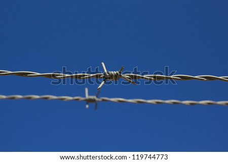barbed wire, with blue sky background. - stock photo