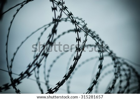 Barbed wire with cold sky - stock photo