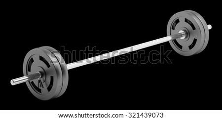 barbell isolated on black background - stock photo