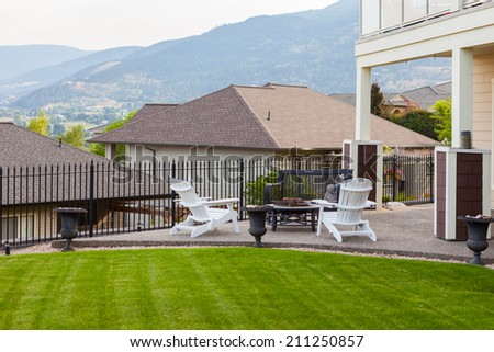 Barbeque and rest area in front of the house. - stock photo