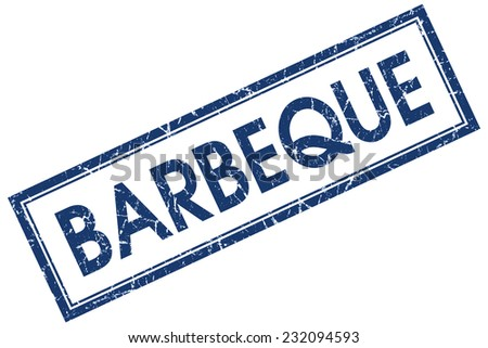 Barbeque blue square grungy stamp isolated on white background - stock photo