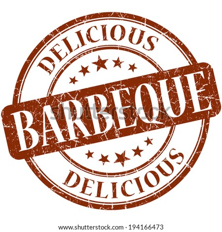 Barbeque brown round grungy vintage rubber stamp - stock photo
