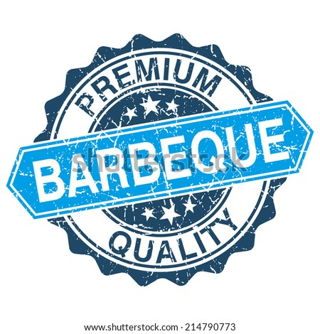 Barbeque grungy stamp isolated on white background - stock photo