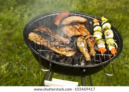 Barbeque in the garden, really tasty dinner! - stock photo
