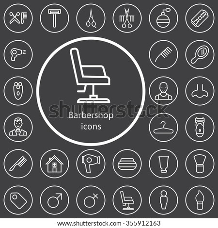 barbershop outline, thin, flat, digital icon set for web and mobile - stock photo
