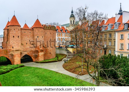 Barbican fortress in the historic center of Warsaw. Poland. - stock photo