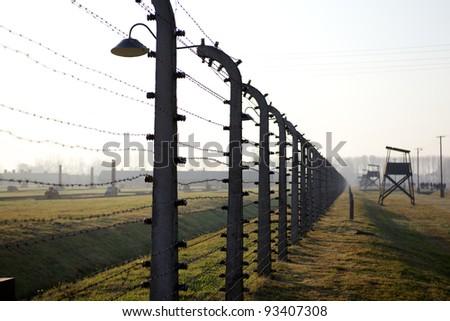 Barbwire in Birkenu  Auschwitz Poland - stock photo