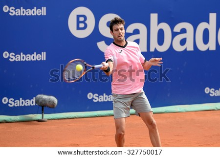 BARCELONA - APR 20: Marcel Granollers (Spanish tennis player) plays at the ATP Barcelona Open Banc Sabadell Conde de Godo tournament on April 20, 2015 in Barcelona, Spain. - stock photo