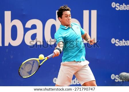 BARCELONA - APR 22: Nicolas Almagro (Spanish tennis player) plays at the ATP Barcelona Open Banc Sabadell Conde de Godo tournament on April 22, 2015 in Barcelona, Spain. - stock photo