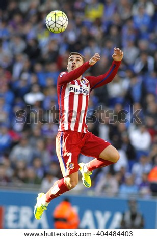 BARCELONA - APRIL, 9: Antoine Griezmann of Atletico Madrid during a Spanish League match against RCD Espanyol at the Power8 stadium on April 9, 2016 in Barcelona, Spain - stock photo