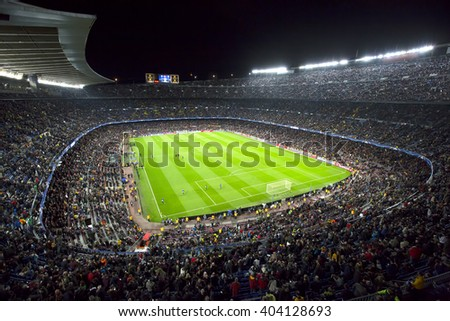 Barcelona April 05 - 2016: Camp Nou stadium on Champions league match between FC Barcelona and Atl�©tico Madrid, 2 - 1, on April 05, 2016, in Barcelona, Spain. - stock photo
