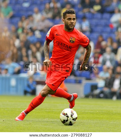 BARCELONA - APRIL, 25: Dani Alves of FC Barcelona during a Spanish League match against RCD Espanyol at the Power8 stadium on April 25, 2015 in Barcelona, Spain - stock photo