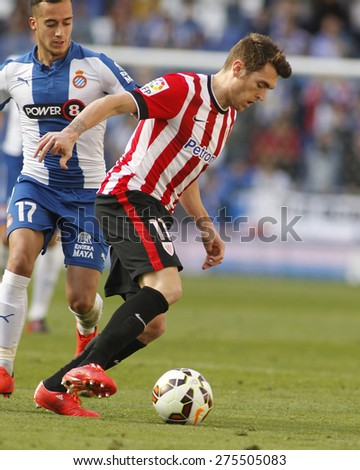 BARCELONA - APRIL, 12: Ibai Gomez of Athletic Club Bilbao during a Spanish League match against RCD Espanyol at the Power8 Stadium on April 12 2015 in Barcelona Spain - stock photo
