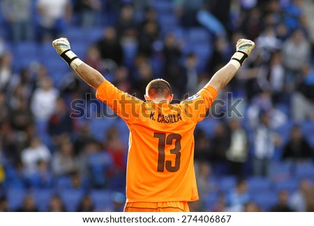 BARCELONA - APRIL, 12: Kiko Casilla of RCD Espanyol during a Spanish League match against Athletic Club Bilbao at the Power8 Stadium on April 12, 2015 in Barcelona, Spain - stock photo