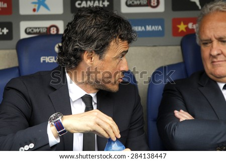 BARCELONA - APRIL, 25: Luis Enrique Martinez manager of FC Barcelona during a Spanish League match against RCD Espanyol at the Power8 stadium on April 25, 2015 in Barcelona, Spain - stock photo
