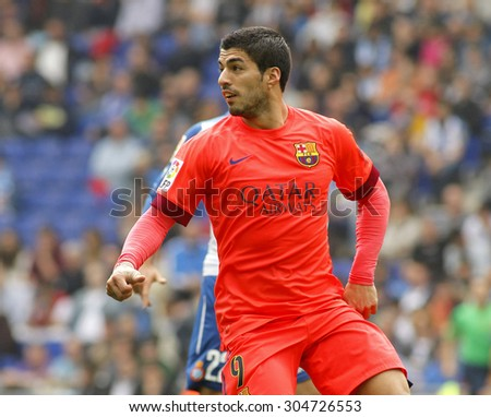 BARCELONA - APRIL, 25: Luis Suarez of FC Barcelona during a Spanish League match against RCD Espanyol at the Power8 stadium on April 25, 2015 in Barcelona, Spain - stock photo