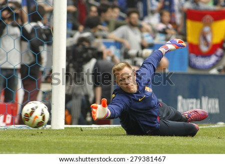 BARCELONA - APRIL, 25: Marc-Andre ter Stegen of FC Barcelona before a Spanish League match against RCD Espanyol at the Power8 stadium on April 25, 2015 in Barcelona, Spain - stock photo