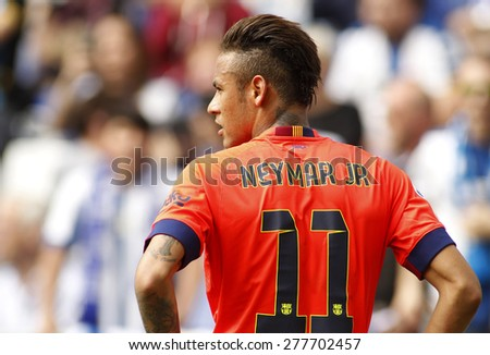 BARCELONA - APRIL, 25: Neymar da Silva of FC Barcelona during a Spanish League match against RCD Espanyol at the Power8 stadium on April 25, 2015 in Barcelona, Spain - stock photo
