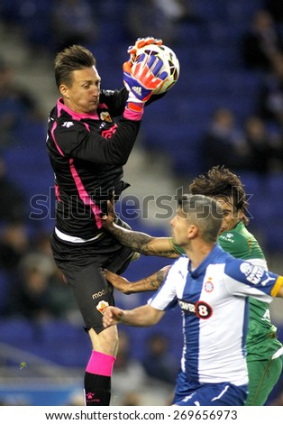 BARCELONA - APRIL, 6: Przemyslaw Tyton of Elche CF during a Spanish League match against RCD Espanyol at the Estadi Cornella on April 6, 2015 in Barcelona, Spain - stock photo