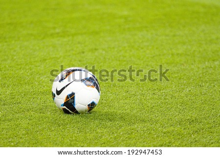 BARCELONA - APRIL 6: Soccer ball during the Spanish league match between FC Barcelona and RDC Mallorca, final score 5-0, on April 6, 2013, in Barcelona, Spain. - stock photo